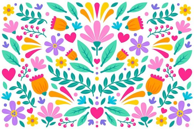 Colorido papel tapiz floral mexicano
