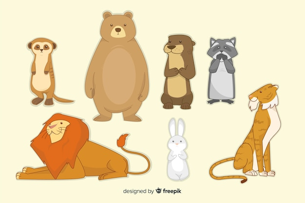 Colorido paquete de animales en estilo infantil