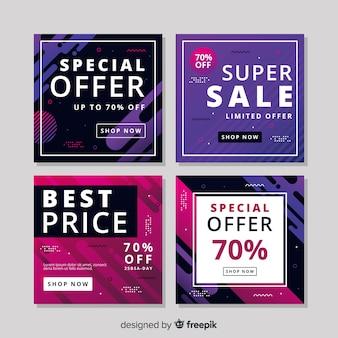 Colorido paquete de banners de venta modernos para redes sociales