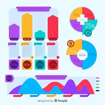 Colorido paquete de elementos de infografía
