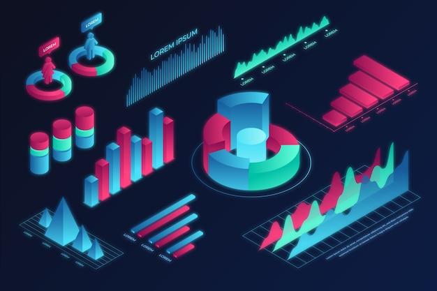 Colorido paquete de infografía isométrica