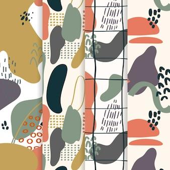 Colorido paquete de patrones abstractos dibujados a mano