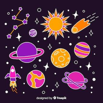 Colorido paquete de pegatinas espaciales dibujadas a mano