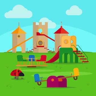 Colorido parque infantil con toboganes y columpios.