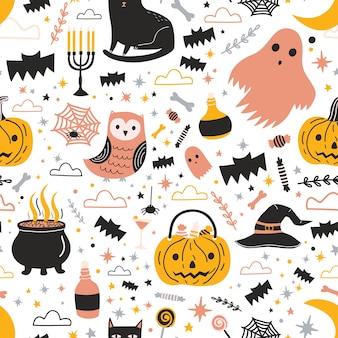 Colorido patrón sin costuras con lindos personajes y decoraciones espeluznantes de halloween: fantasma, linterna de calabaza, dulces, sombrero de bruja mágica y olla con poción