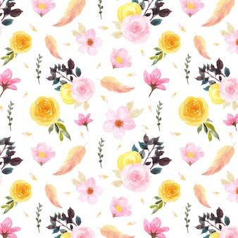 Colorido patrón floral transparente con hermosa pluma