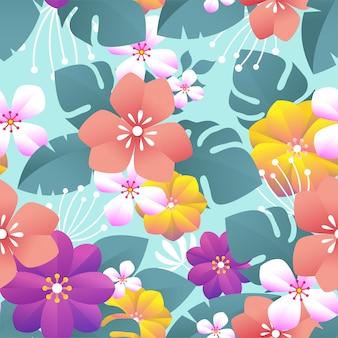 Colorido patrón floral transparente