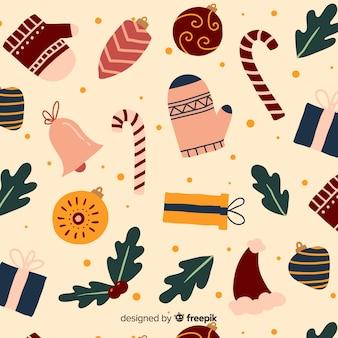 Colorido patrón de navidad vintage