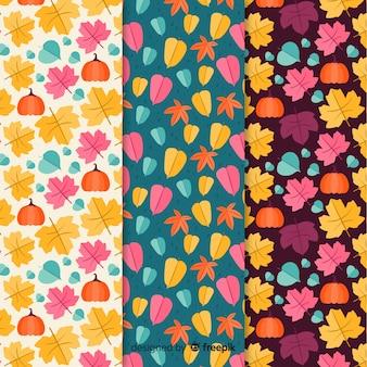 Colorido patrón de otoño colección diseño plano