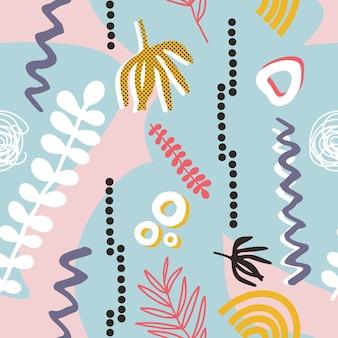 Colorido patrón transparente contemporáneo con formas abstractas