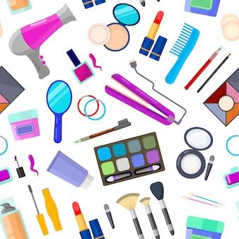 Colorido patrón transparente de herramientas para el maquillaje y la belleza en blanco