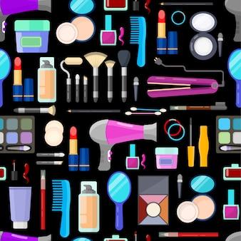 Colorido patrón transparente de herramientas para el maquillaje y la belleza sobre fondo negro