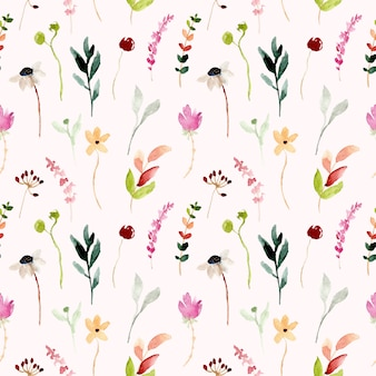 Colorido de patrones sin fisuras acuarela floral salvaje