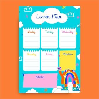 Colorido plan de lección para niños arco iris dibujado a mano