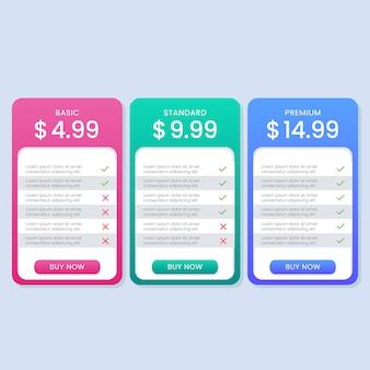 Colorido plan de tabla de precios simple o banner para sitio web