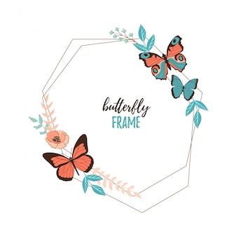 Colorido plano de dibujos animados vector mariposa, flores y hojas marco aislado