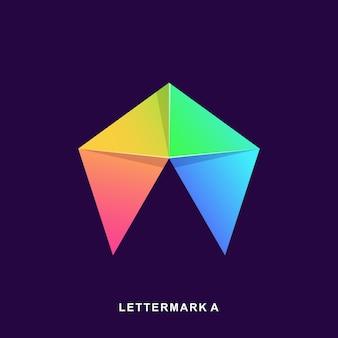 Colorido resumen letra a logo premium