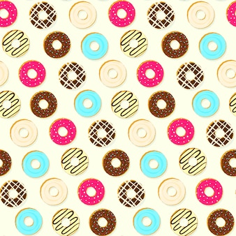 Colorido sabroso relleno donas de patrones sin fisuras