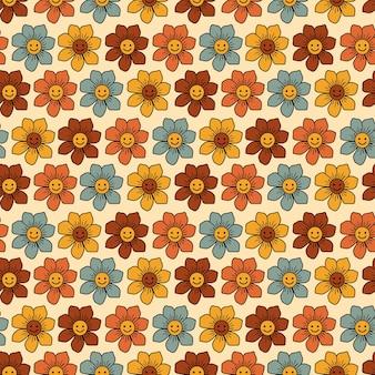 Colorido, sonriente, floral, retro, seamless, patrón