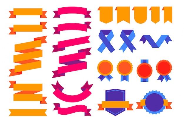 Colorido súper conjunto de cintas, emblemas e insignias