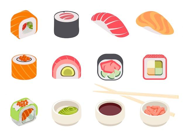 Colorido, sushi, conjunto