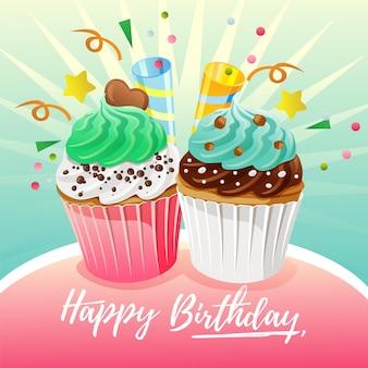 Colorido tema de tarjeta de cumpleaños con diversión con pastel de rebanada de bizcocho