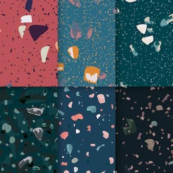 Colorido terrazo sin fisuras patrón conjunto de vectores de carteles