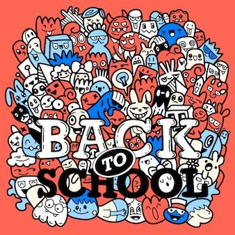 Colorido texto dibujado a mano de regreso a la escuela en estilo pop art