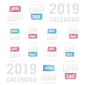 Colorido vector 2019 diseño de calendario