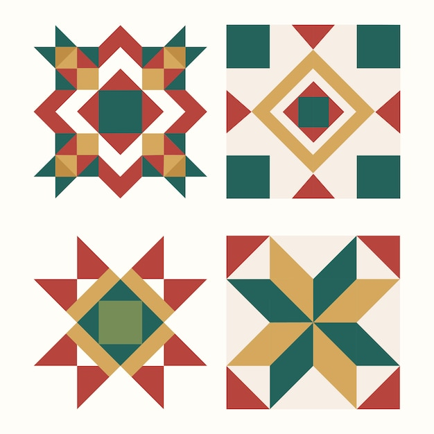 Colorido vector de diseño geométrico de azulejos de navidad