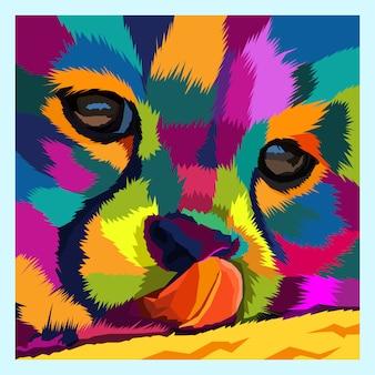 Colorido del vector del retrato del arte pop del gato