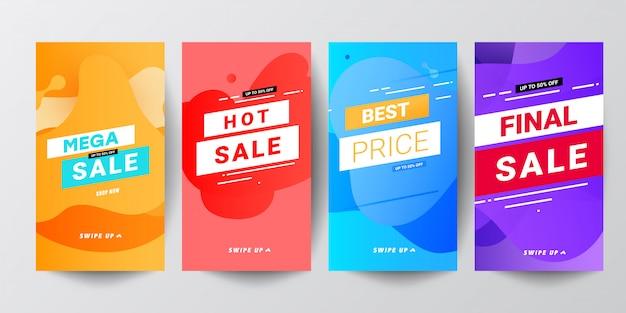 Coloridos abstractos modernos conjuntos de banners gráficos para historias