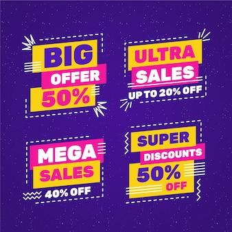 Coloridos carteles de ventas con colección de marcos de líneas discontinuas