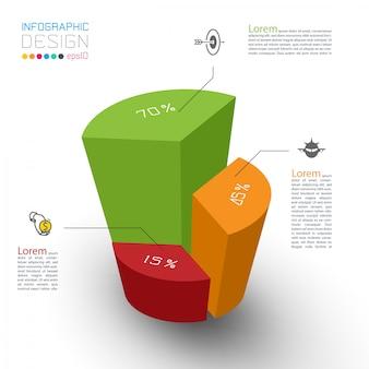 Coloridos cilindros isométricos de la infografía.