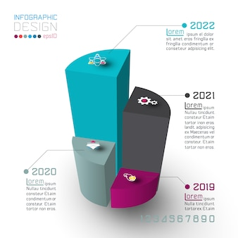 Coloridos cilindros isométricos de infografías.