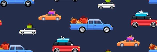 Coloridos coches con cajas de regalo postal feliz navidad feliz año nuevo celebración navideña concepto tarjeta de felicitación horizontal de patrones sin fisuras