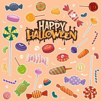 Coloridos dulces de halloween para niños, caramelos.