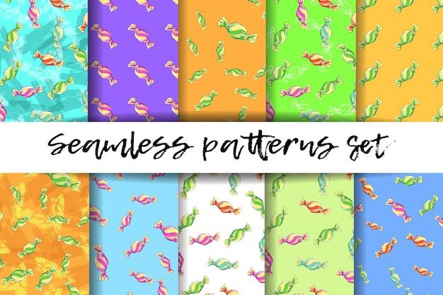 Coloridos dulces de patrones sin fisuras.