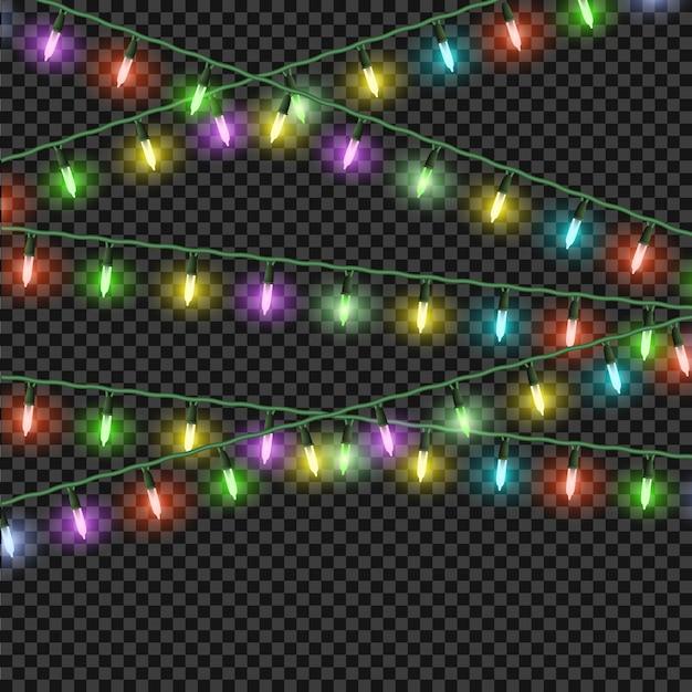 Coloridos efectos de luces navideñas, guirnaldas