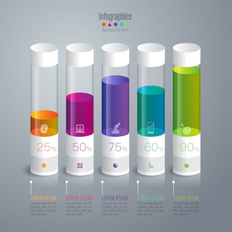 Coloridos elementos del gráfico de barras para la presentación.