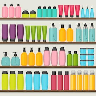 Coloridos estantes con botellas de cosméticos.