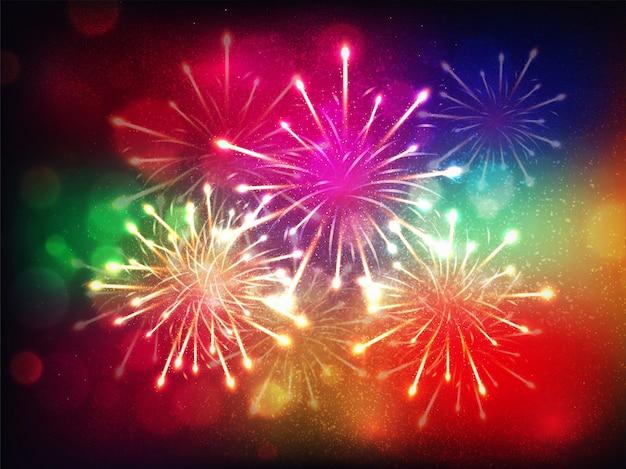 Coloridos fuegos artificiales brillantes antecedentes para celebración.