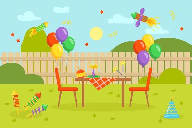 Coloridos fuegos artificiales y globos con mesa en el patio trasero