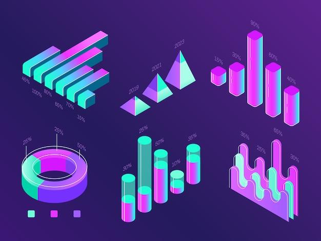 Coloridos gráficos de porcentaje púrpura, cian, estadísticas, columnas y diagramas.