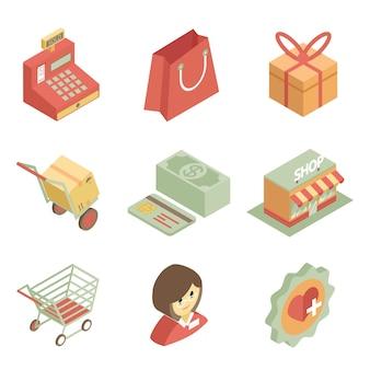Coloridos iconos de compras isométricas para tienda o supermercado sobre fondo blanco.