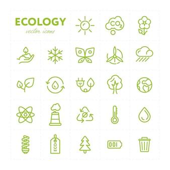 Coloridos iconos ecológicos en conjunto