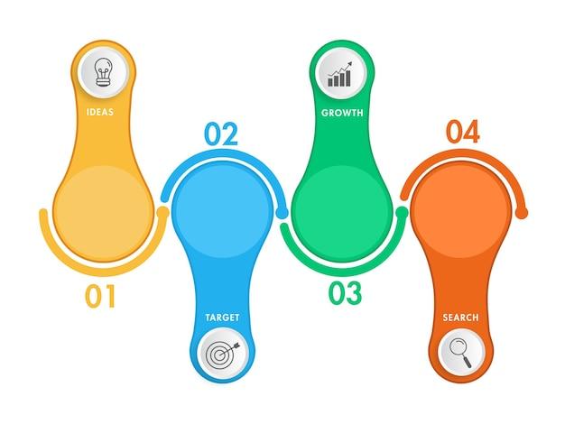 Coloridos iconos de infografía empresarial de cuatro pasos