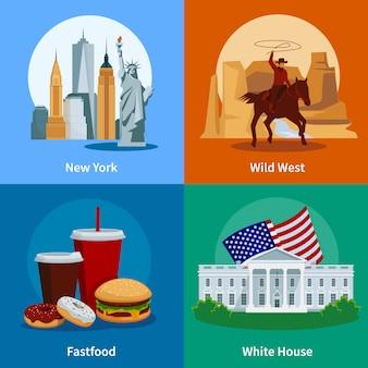 Coloridos iconos planos de estados unidos 2x2 con la casa blanca del oeste salvaje de nueva york y la comida rápida estadounidense