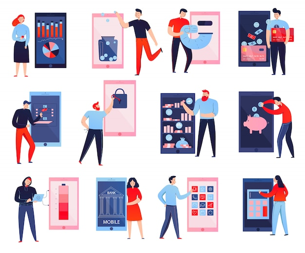 Coloridos iconos planos con personas que utilizan el banco móvil aislado sobre fondo blanco.