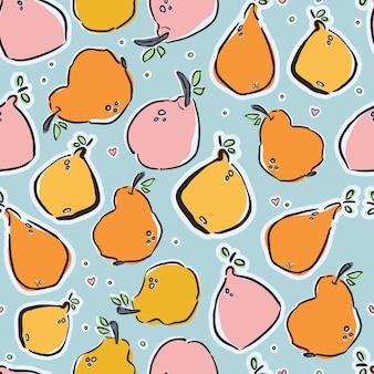 Coloridos limones y peras dibujados a mano en patrón transparente de vector